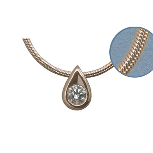 Золотое колье с бриллиантом и цепью золотой арт. 87252 87252
