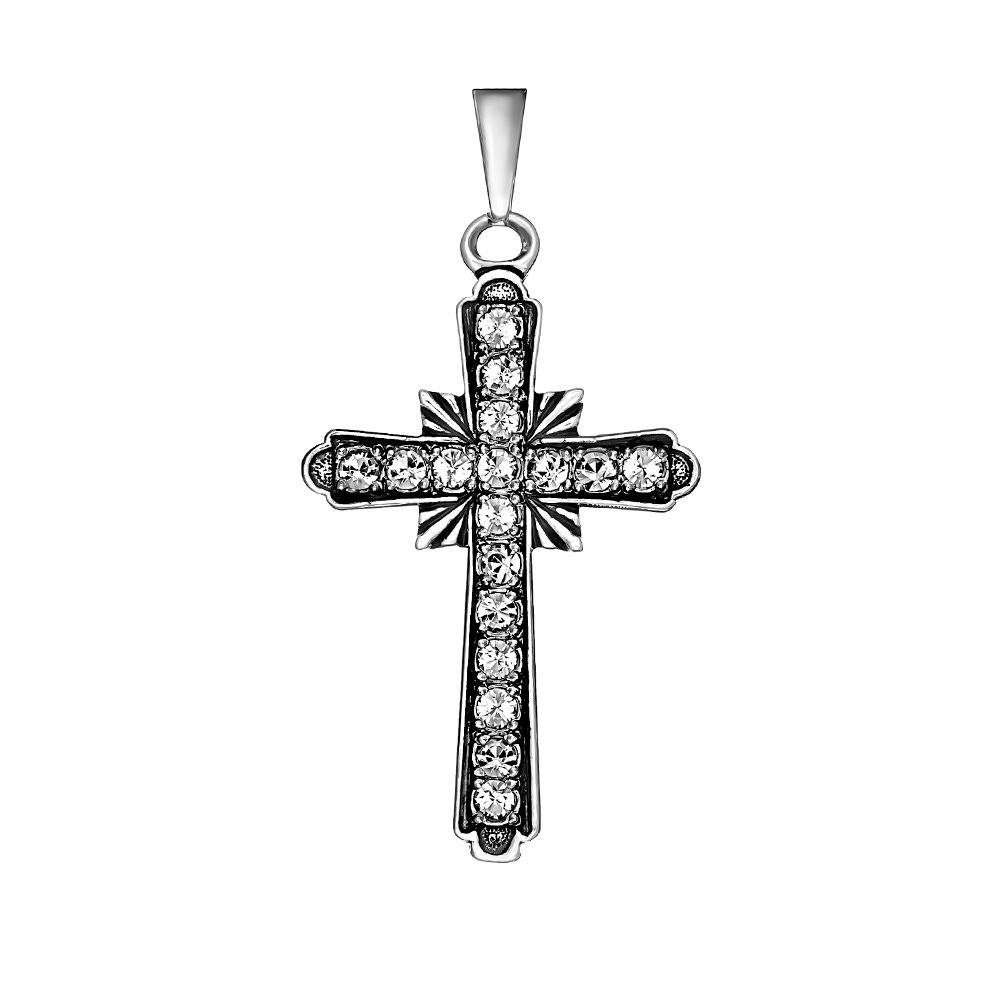 Серебряный крест с кристаллом сваровски арт. п103 п103