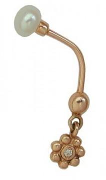 Золотой пирсинг с жемчугом и фианитом арт. 12930007 12930007