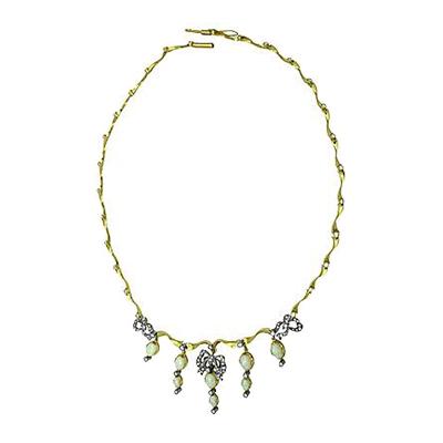 Колье из лимонного золота с бриллиантом и опалом арт. 84481550 84481550