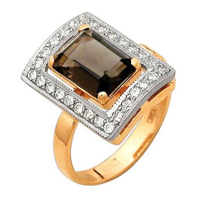 Золотое кольцо Раухтопаз и Фианит арт. 21300007 21300007