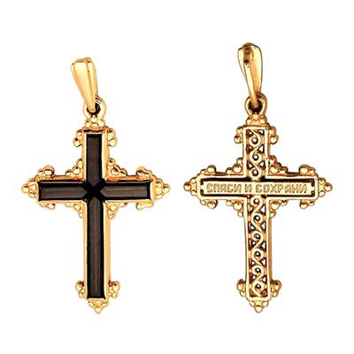 Золотой крест с раух-топазом арт. 12030050 12030050