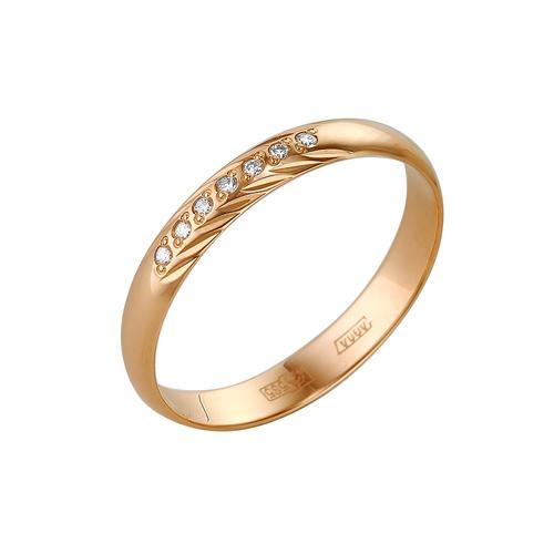 Обручальное кольцо из золота с бриллиантом и изумрудом арт. 1-102-74 1-102-74