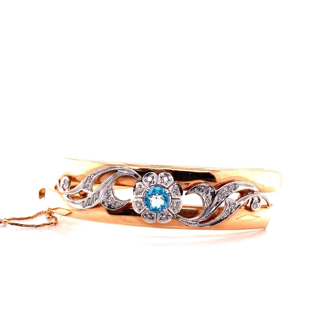 Жесткий браслет из золота с бриллиантом и топазом арт. г2884 г2884