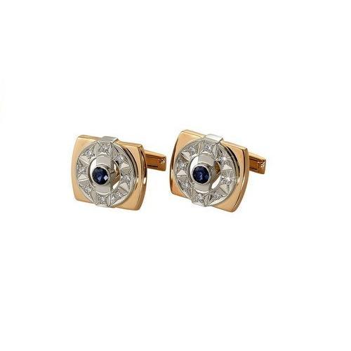 Золотые запонки с бриллиантом и сапфиром арт. 4-008 4-008