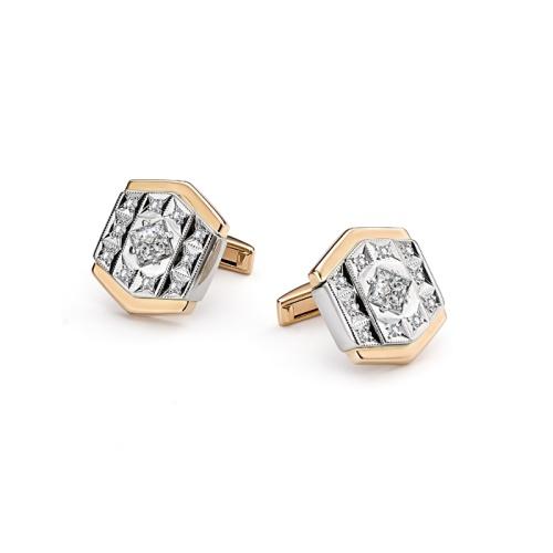 Золотые запонки с бриллиантом и сапфиром арт. 4-007 4-007