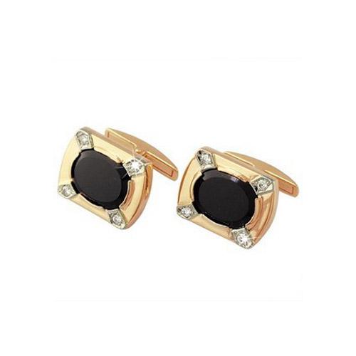 Золотые запонки с бриллиантом и ониксом арт. 4-004 4-004
