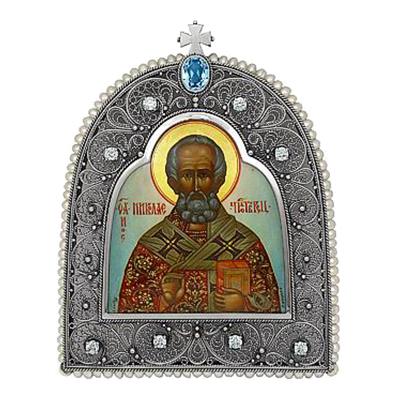 Серебряная икона с жемчугом, топазом и фианитом арт. 99991901 99991901