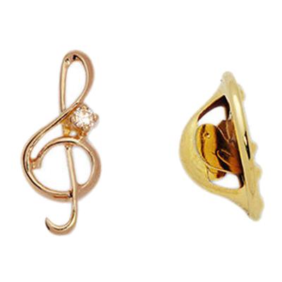 Золотой значок с фианитом скрипичный ключ арт. 12020020 12020020