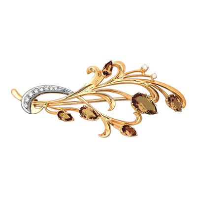 Золотая брошь с бриллиантом и раух-топазом арт. 28520012 28520012