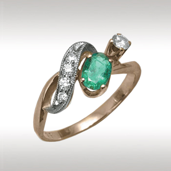 Золотое кольцо Бриллиант и Изумруд арт. 87697 87697