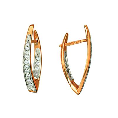 Золотые серьги с цирконием арт. 01с112211 01с112211