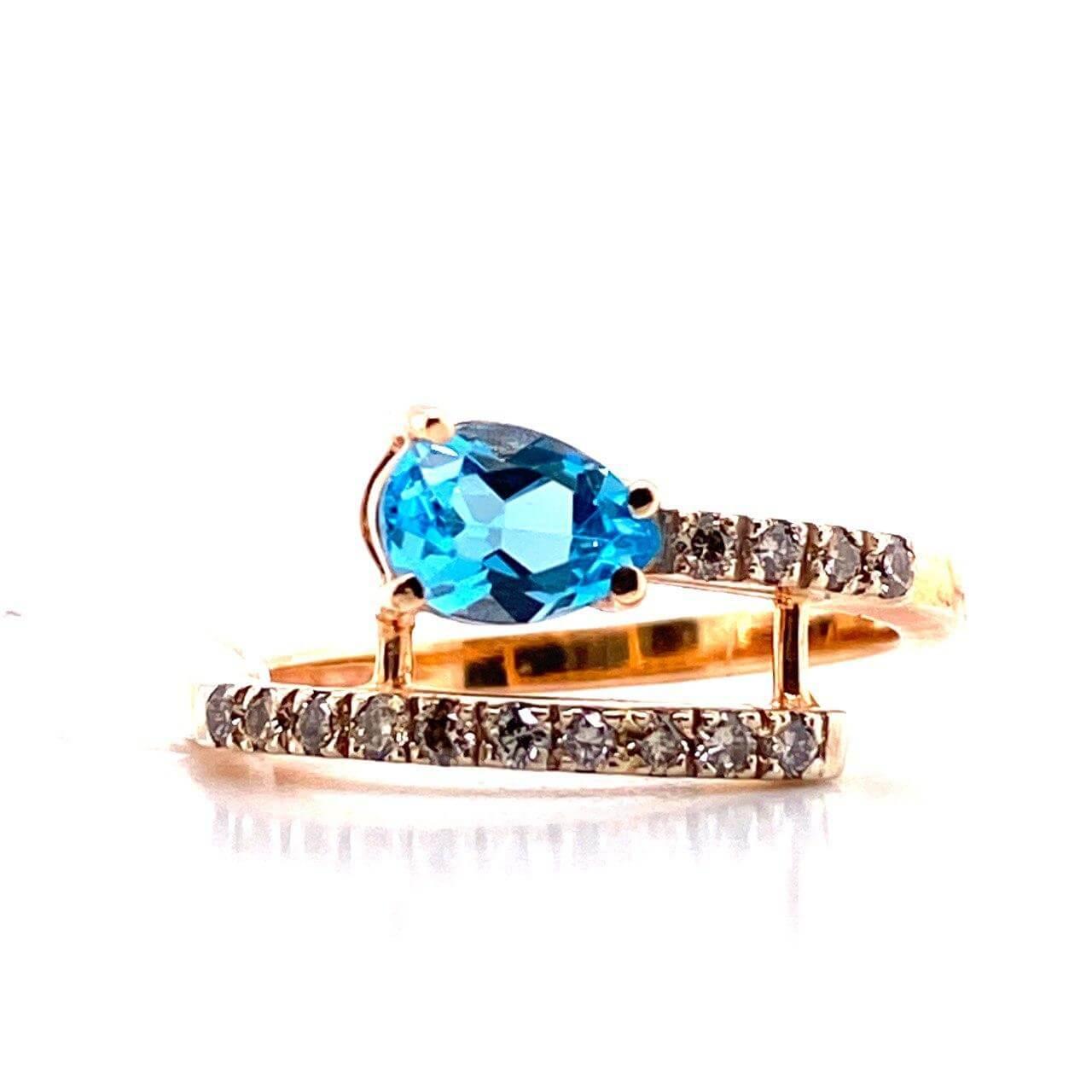 Золотое кольцо Бриллиант и Топаз арт. 1101 1101