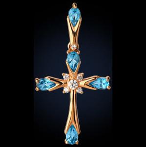 Золотой крест с раух-топазом и фианитом арт. 32111 32111