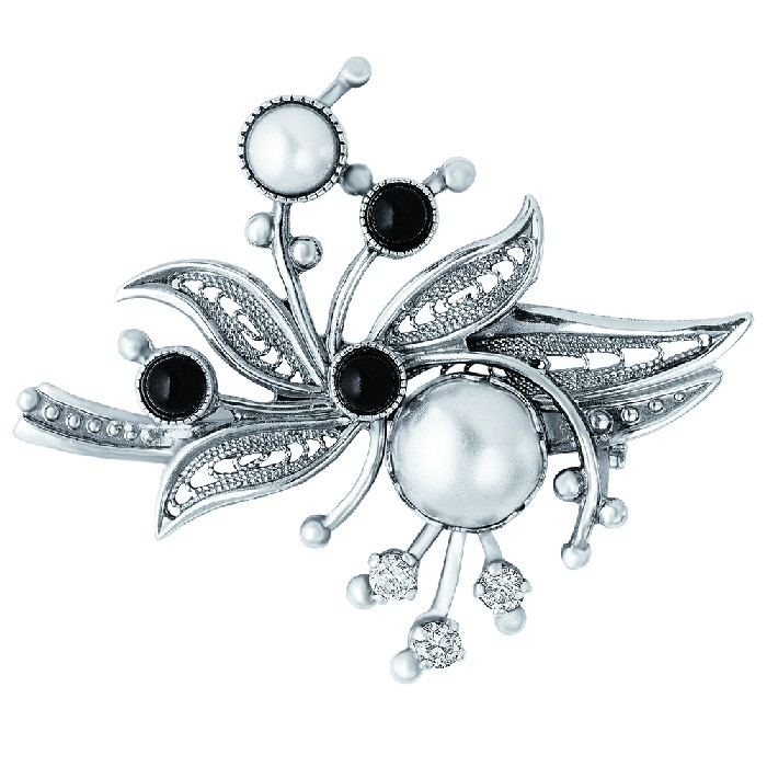 Серебряная брошь с жемчугом искусственным, стеклом и фианитом арт. 138134 138134