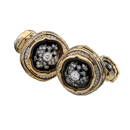 Золотые запонки с агатом, бриллиантом, золотом 585 пробы, серебром и эмалью арт. А05-10 Юбилейные А05-10 Юбилейные