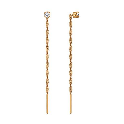 Серьги продевки из золота с фианитом арт. 020610 020610