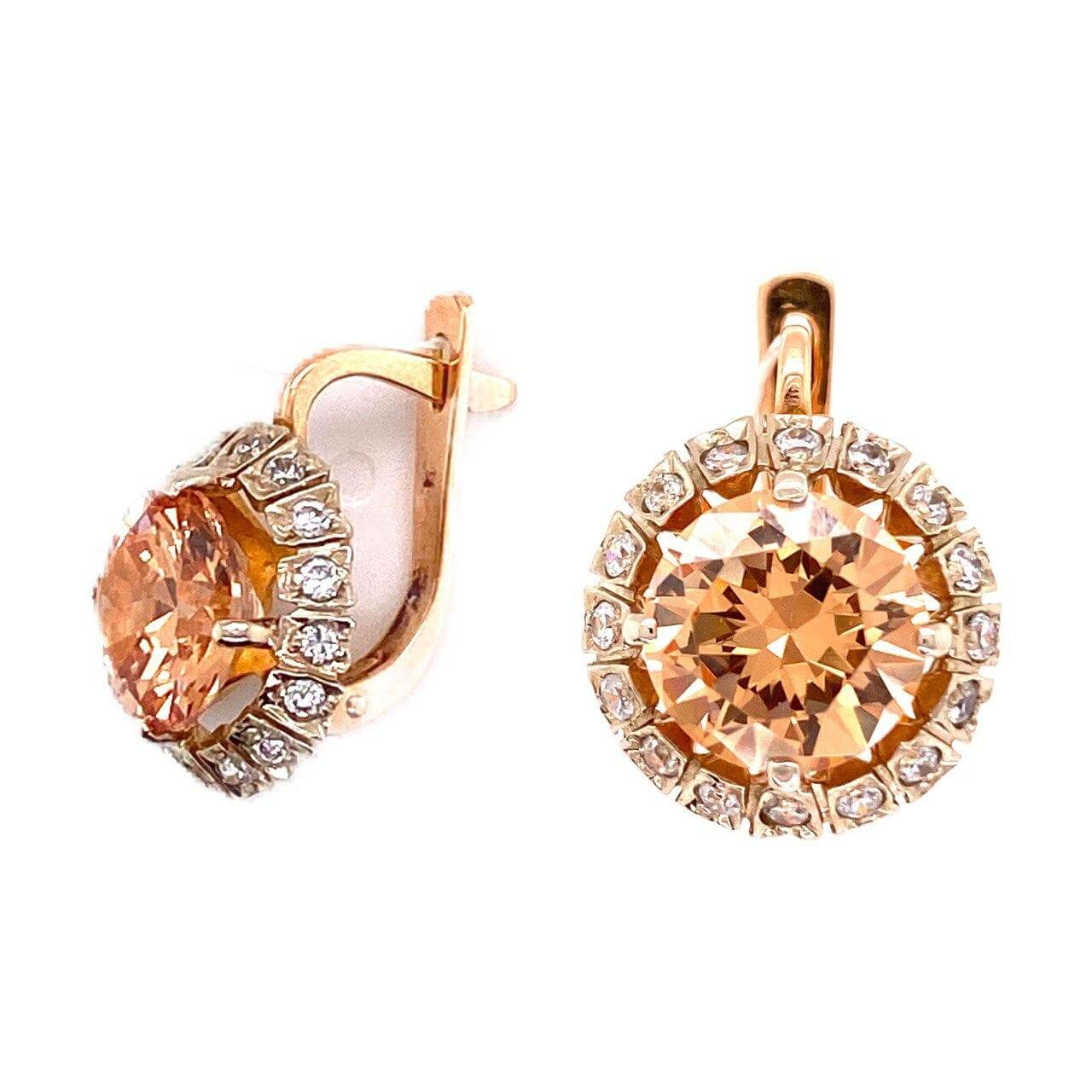 Золотые серьги с цирконием арт. 0222желтый 0222желтый