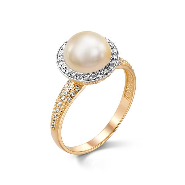 Золотое кольцо Жемчуг и Фианит арт. 31071а1 31071а1
