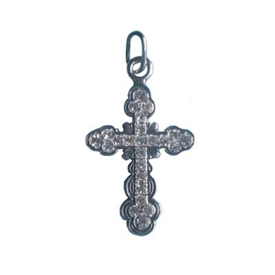 Серебряный крест с кристаллом сваровски арт. п104 п104