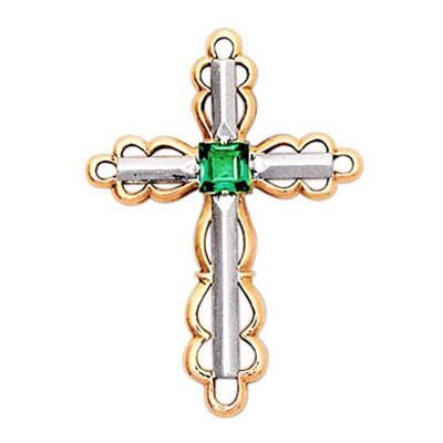 Золотой крест с изумрудом арт. 13130003 13130003