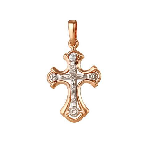 Золотой крест с бриллиантом арт. 8-214 8-214