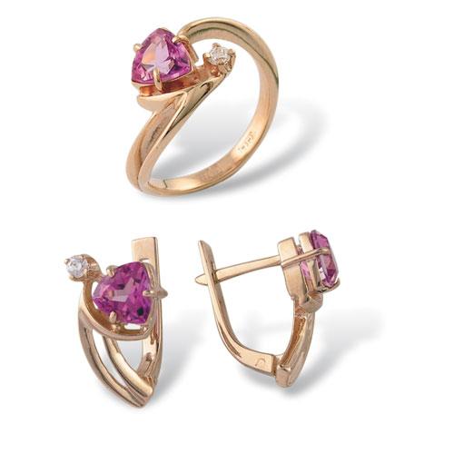 Серебряное кольцо Аметист и Фианит арт. 4к-435-05 4к-435-05