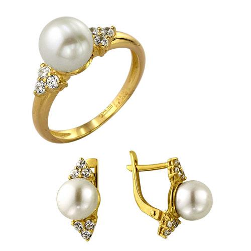 Серебряное кольцо Жемчуг и Фианит арт. 4к-735-04 4к-735-04