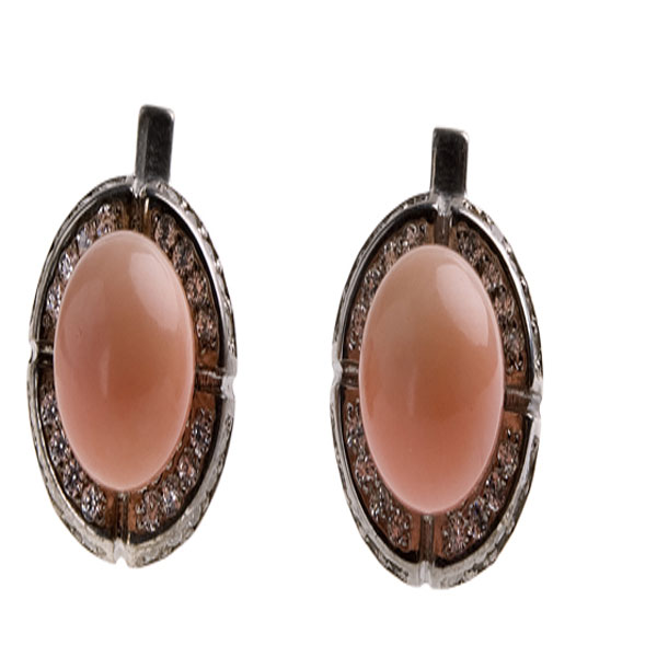 Серебряные серьги с жемчугом и фианитом арт. 4с-5035-04 4с-5035-04