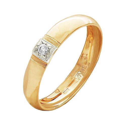 Обручальное кольцо из золота с бриллиантом арт. 4123-110 4123-110
