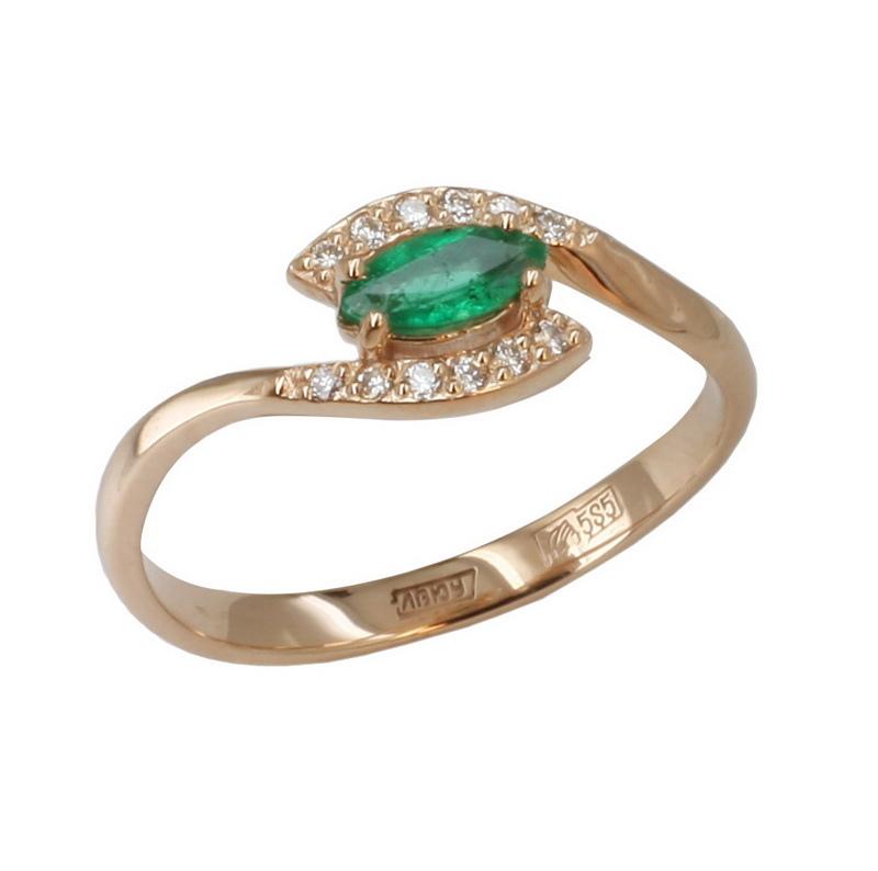 Золотое кольцо Бриллиант и Изумруд арт. 11-0186 11-0186