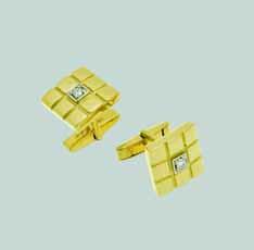 Запонки из лимонного золота с бриллиантом арт. 0288222 0288222