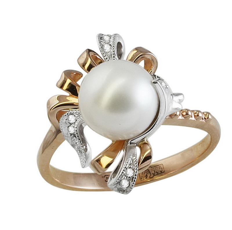 Золотое кольцо Бриллиант и Жемчуг арт. 11-0235 11-0235