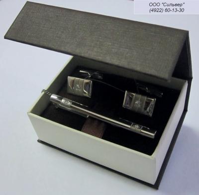 Серебряные запонки с фианитом арт. 141002 141002
