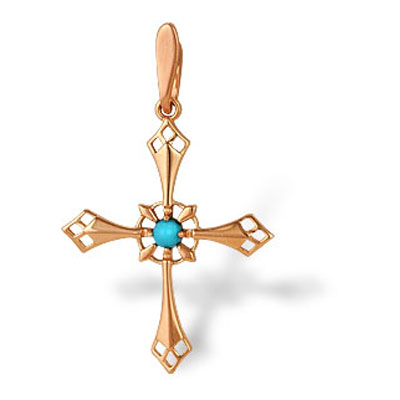 Золотой крест с бирюзой арт. 10530014 10530014