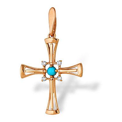 Золотой крест с бирюзой арт. 10530016 10530016