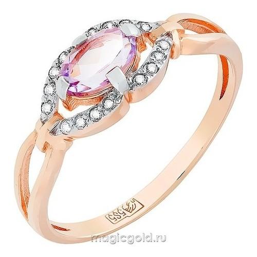 Золотое кольцо Аметист и Фианит арт. кл-391к-а кл-391к-а