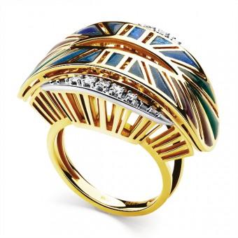 Золотое кольцо Бриллиант и Эмаль арт. 14992637 14992637