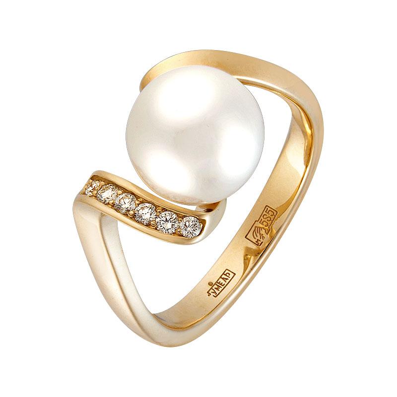 Кольцо из лимонного золота Бриллиант и Жемчуг арт. 0120 0120