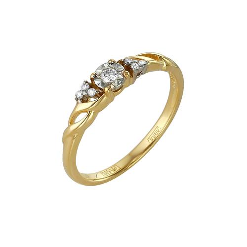 Кольцо из лимонного золота Бриллиант арт. 1-104-924 1-104-924