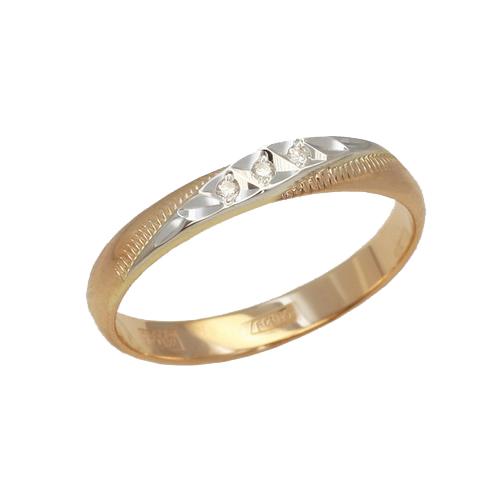 Обручальное кольцо из золота с бриллиантом арт. 100-033 100-033