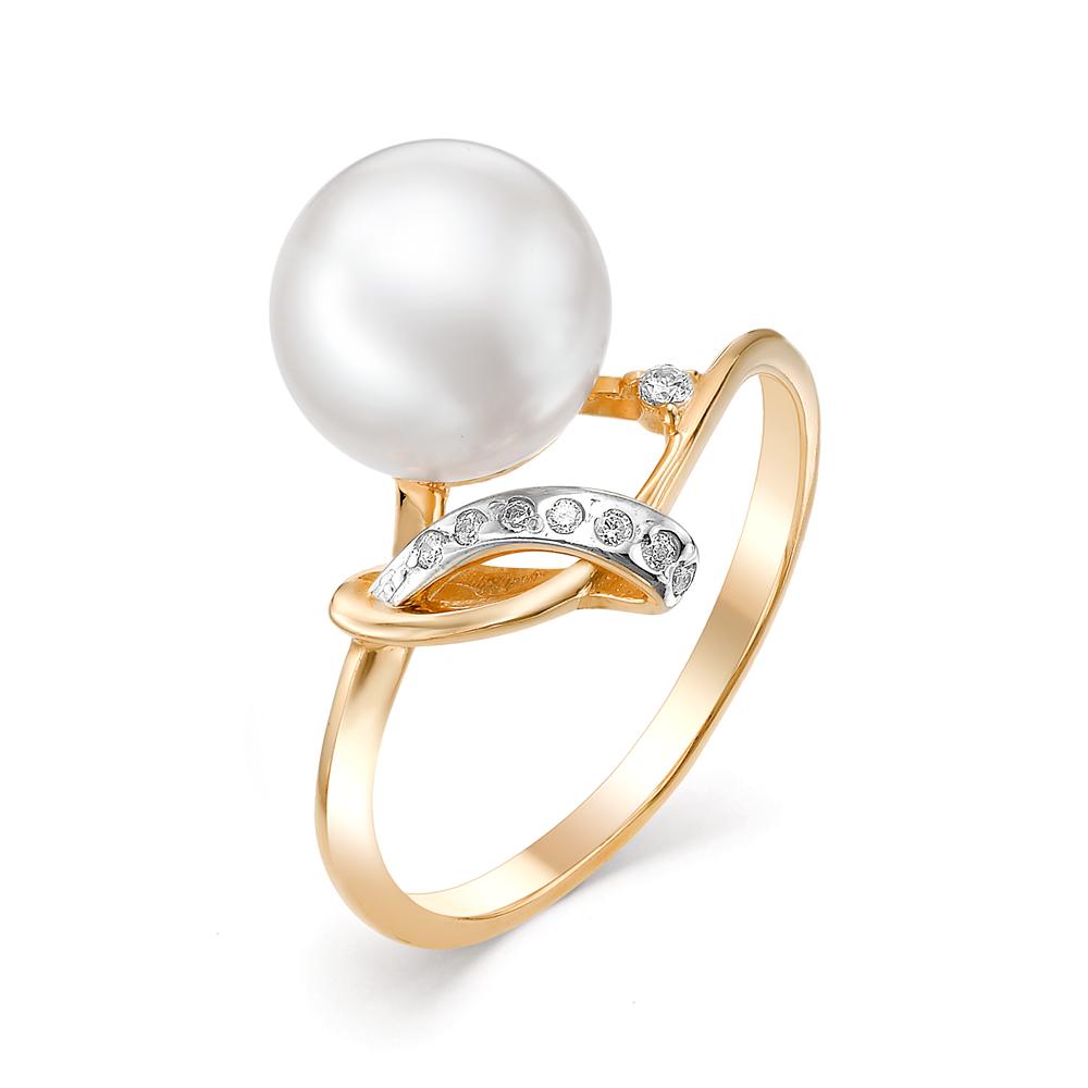 Золотое кольцо Жемчуг и Фианит арт. 31304A1 31304A1