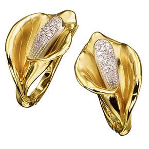 Серьги из лимонного золота с бриллиантом арт. с-14021 с-14021