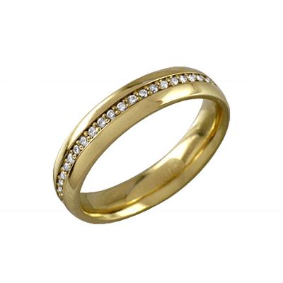 Обручальное кольцо из лимонного золота с бриллиантом арт. 89416 89416