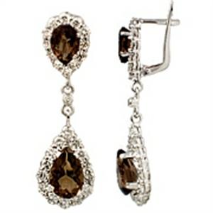 Серьги из белого золота с бриллиантом и раух-топазом арт. 81721690 81721690