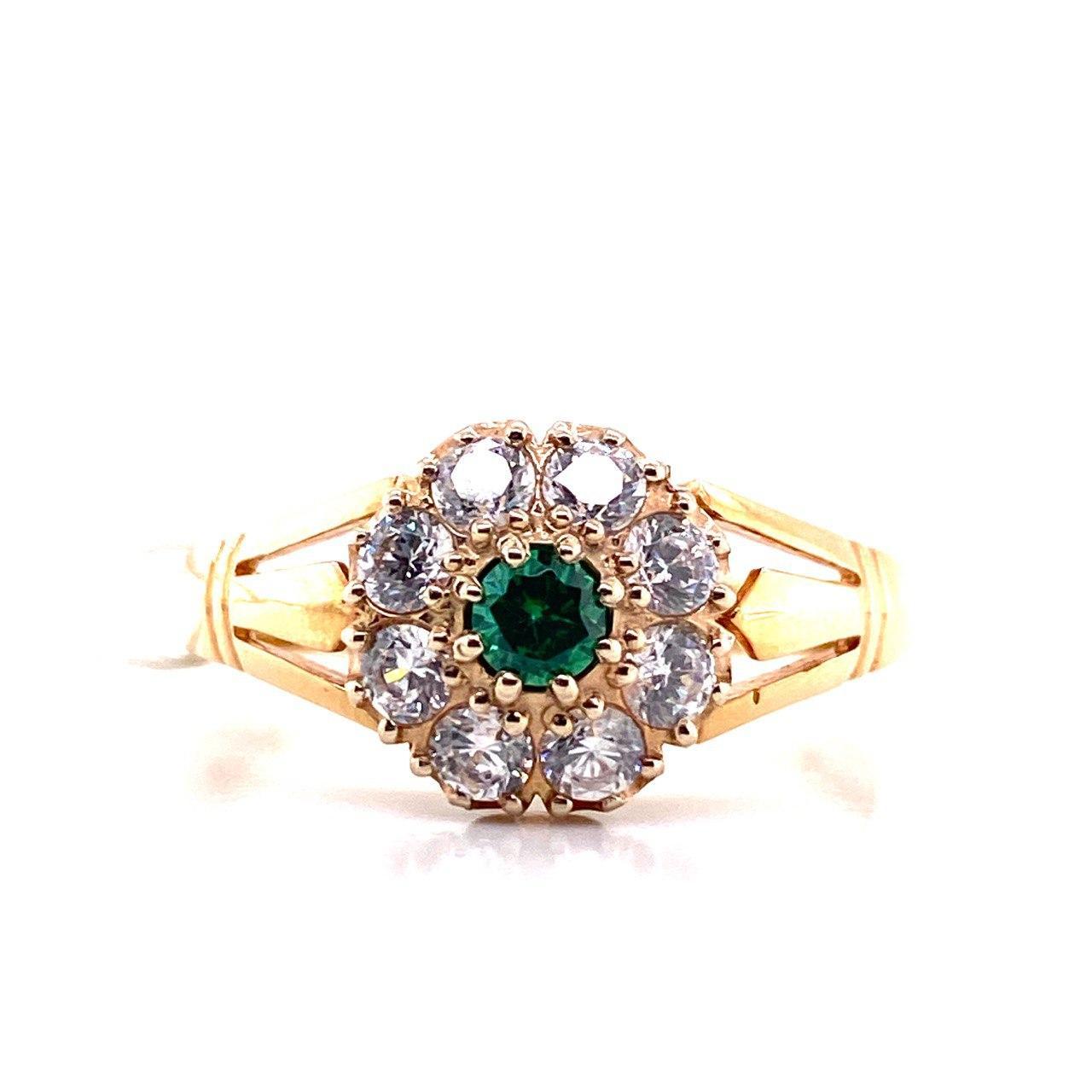 Золотое кольцо Фианит арт. 0105зеленый 0105зеленый