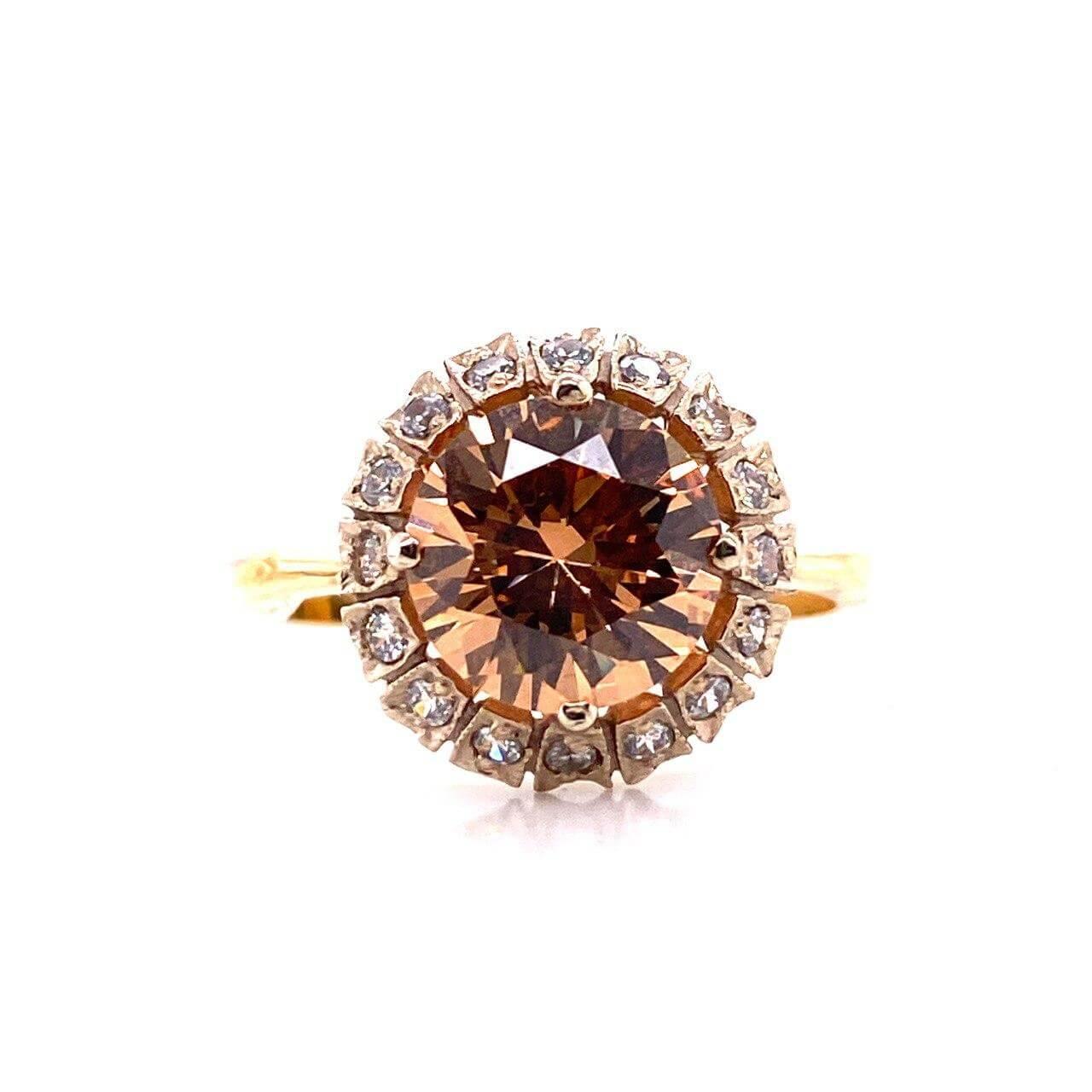 Кольцо из лимонного золота Фианит арт. 0122винный 0122винный