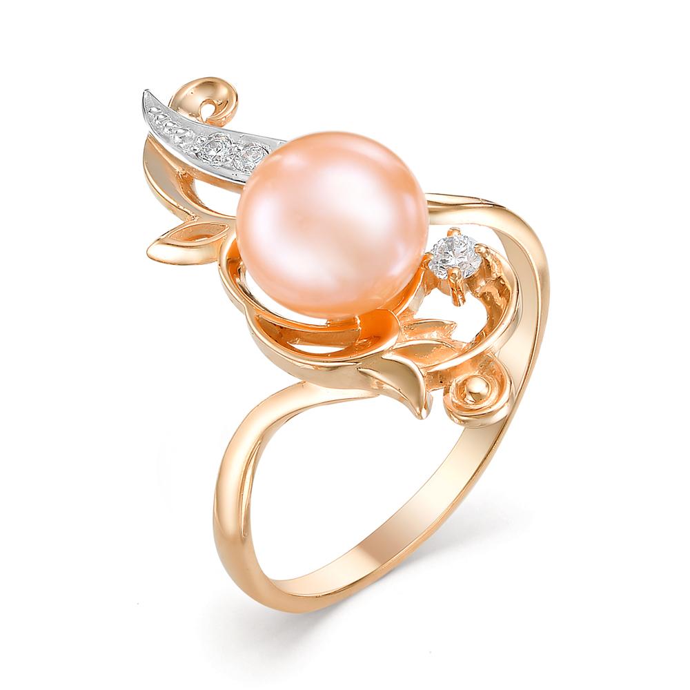 Золотое кольцо Жемчуг и Фианит арт. 31008A1 31008A1