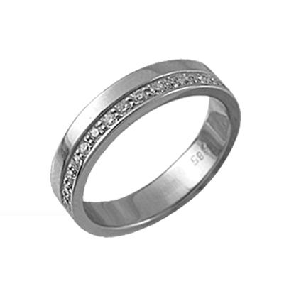 Обручальное кольцо из белого золота с бриллиантом арт. 89019 89019