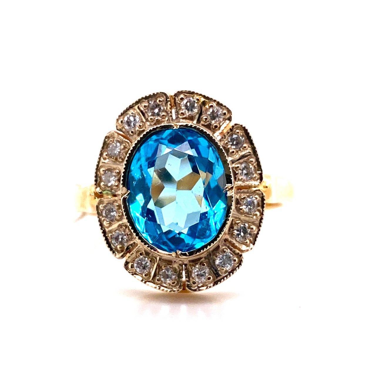 Кольцо из лимонного золота Бриллиант и Топаз арт. 0192 0192